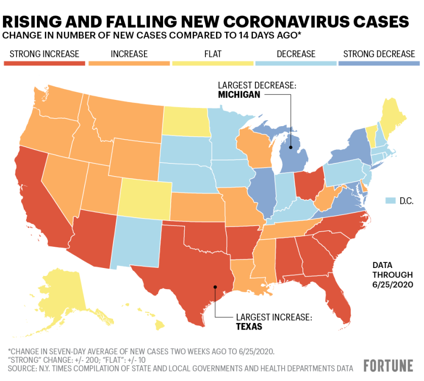U S Coronavirus Cases Map Texas Florida California Arizona 7 Others Rise Sharply Plus State By State Covid 19 Breakdown Fortune