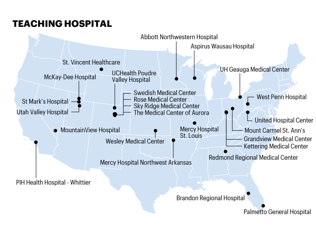 Map shows location of hospitals on the 100 top hospitals list
