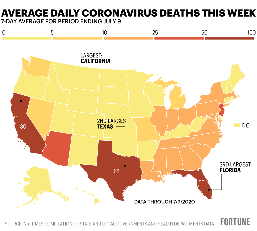 Covid Cases In U S Map New Coronavirus Record Driven By Florida Texas California Arizona 13 Other States Fortune