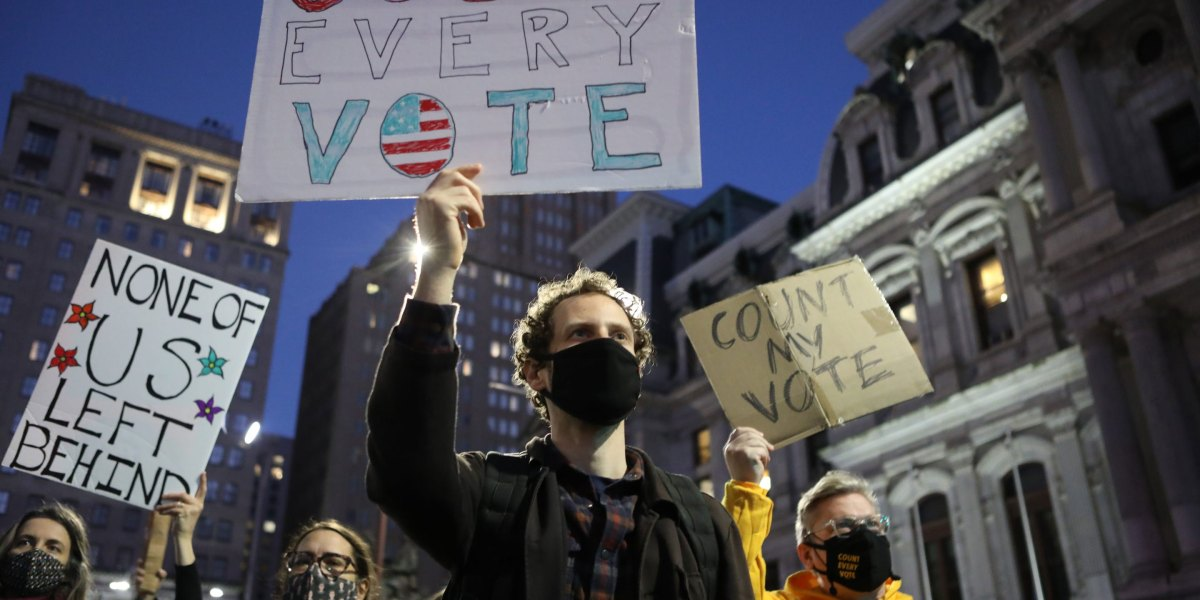 Americans assemble in protests and rallies across the country as votes are counted thumbnail