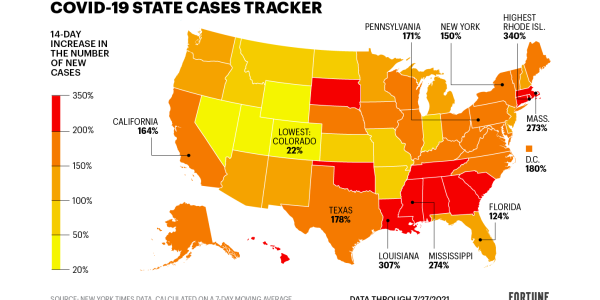 The Delta variant is driving up COVID rates  See the states cases are rising the fastest