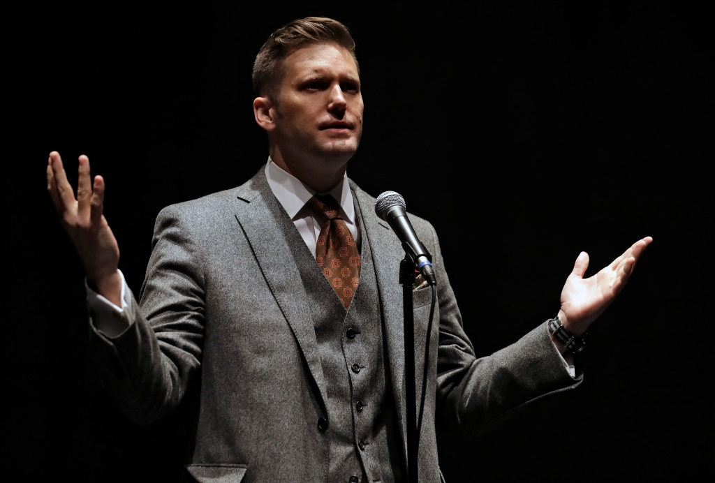 """Richard Spencer, a white supremacist, speaks at the University of Florida in Gainesville, Fla. on Oct. 19, 2017. Spencer has dubbed Bitcoin the """"currency of the alt-right."""" Chris O'Meara—AP"""